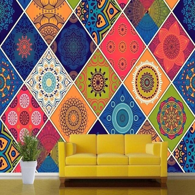 free shipping custom geometry ceramic tile pattern background mural living room bedroom restaurant decoration wallpaper