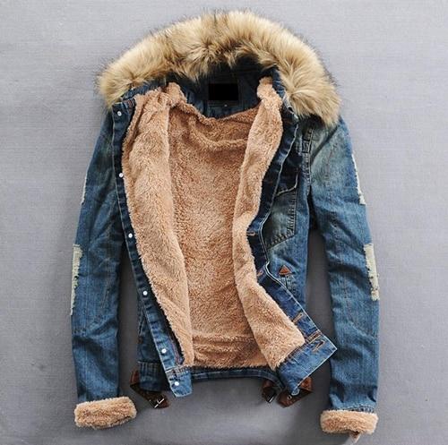 S-4XL Mens Retro Fur Collar Denim Jeans Coat Outwear Parkas Fleece Thick Parkas Warm Motorcycle Plus Size Black Blue