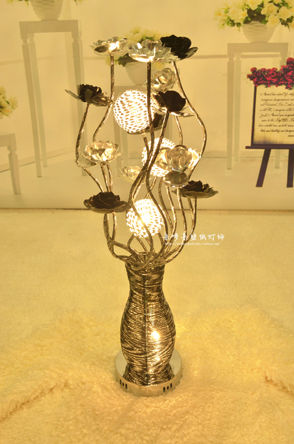 Modern fashion aluminum wire table light decoration artificial modern fashion aluminum wire table light decoration artificial flower vase bountyless dried flowers bedroom lamp silver greentooth Gallery