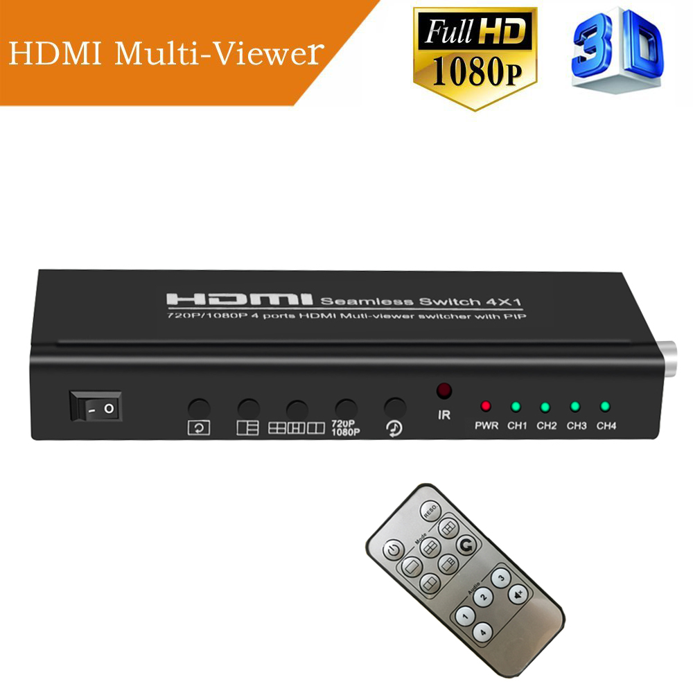 Aikexin 4X1 HDMI Multi-Viewer HDMI Quad Screen Real Time Multi-Viewer HDMI Splitter Seamless Switcher 1080P 3D with IR Control 4x1 hdmi multi viewer switcher hdmi quad screen real time multiviewer with hdmi fast switching function full 1080p 5 modes