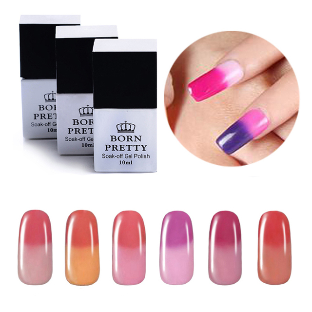 BORN PRETTY Temperature Color Changing Thermal Soak Off Nail UV Gel Polish 1-6