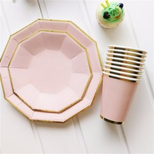 2017 Hot Waving Rose Gold Stamping Pattern Decorated Disposable Tableware Plates in Vintage Style for Parties Birthday Wedding