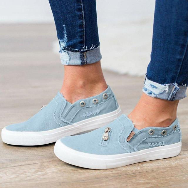 2019 New Canvas Shoes Fashion Women Flats Slip on Loafers Ripped Denim Shoes Casual Outdoor Shoes Zipper Summer Creepers XWF709
