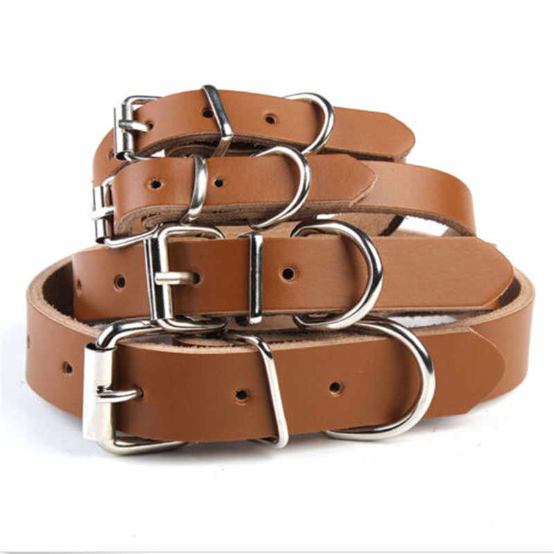2018 New High Quality Adjustable Cow Leather Pet Dog Cat Puppy Collar Neck Buckle Black/Brown