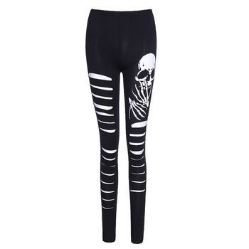 Black Skull Elastic Slim Leggings