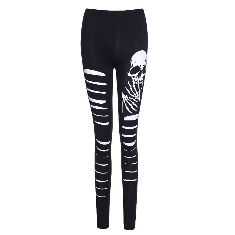 Black Skull   Leggings   Women Sexy Punk Rock Fashion Elastic Slim High Waist Hollow Out Female GothicLeggings