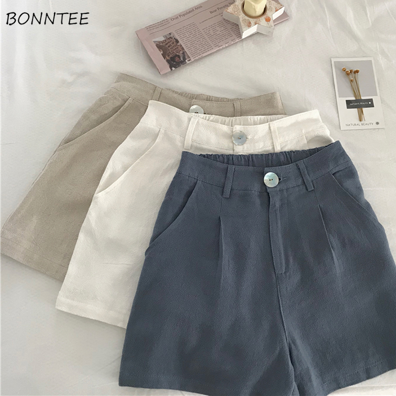 Shorts Women Summer 2019 New High Waist Casual Women's Loose Trendy All-match Simple Daily Elegant Lovely Solid Female Sweet