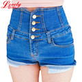 High Waist Denim Shorts For Women 2016 Summer Casual Slim Short Jeans Blue Color Wild Short Feminino Femme Free Shipping L272