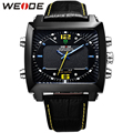 WEIDE Genuine Leather Strap Watches Men Quartz Date Day Analog LED Display Multifunction Clock Men's Fashion Sports Army Watch