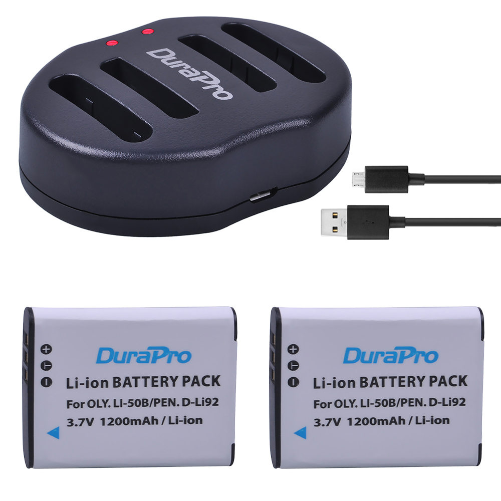 цена на DuraPro 2pcs 1200mAh Li-50B D-LI92 Li 50B D LI92 Li-ion camera Battery + USB Dual Charger For Olympus 1020 1010 1030 Pentax X70