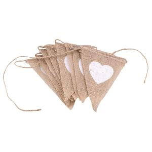 Image 5 - Love Heart Rustic Hessian Jute Linen Bunting Flags Burlap Lace Pennant Party Garland Wedding Decoration
