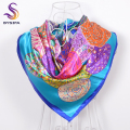 [BYSIFA] New Blue Paisley Satin Square Scarves Shawl 90*90cm Ladies Accessories Large Square Scarves Muslim Head Scarves