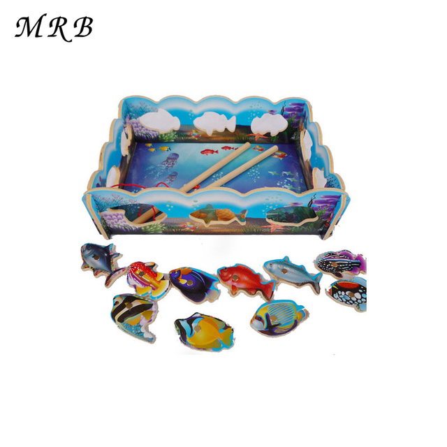 Baby Wooden Toys Fishing Game 10pcs Set Magnetic Fishing Toy Game Kids 2 Rod Fish Baby Bath Toys Outdoor Fun