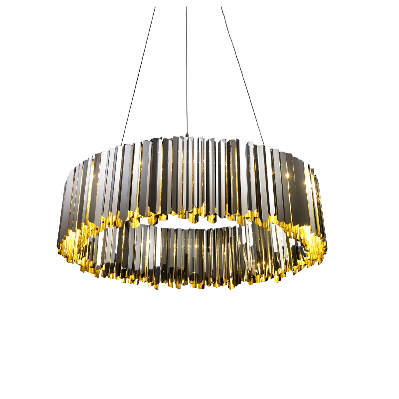 Stainless Steel Pendant Light modern Lustre Gold Chrome Luxury Round Plate Metal hanging Lamp Dia.60cm 80cm G9 led lamp 3000K modern dimmable curved luxury gold chrome led pendant light eelctroplate aluminium soft acrylic lustre cristal led hanging lamp