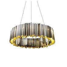 Stainless Steel Pendant Light modern Lustre Gold Chrome Luxury Round Plate Metal hanging Lamp Dia.60cm 80cm  G9 led lamp 3000K