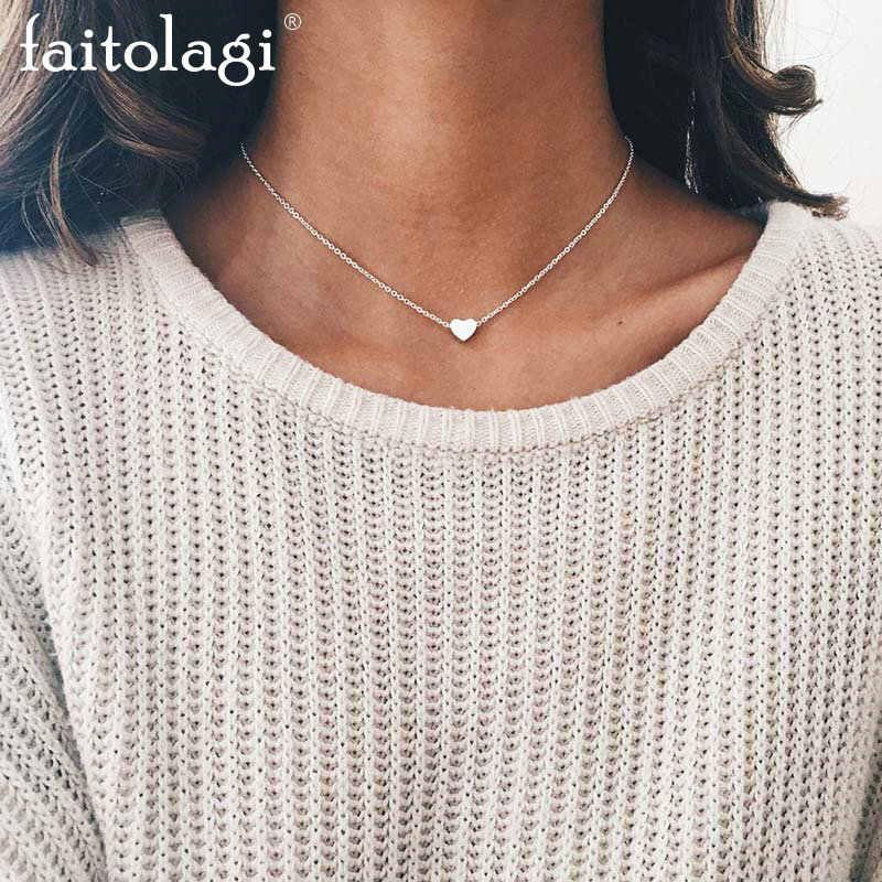 ショートハートネックレス女性のためのゴールドチェーンネックレスペンダントジュエリー女性貝殻ネックレス ketting kolye collares