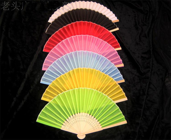 Plain Color Bamboo Folding Hand Fan 50pcs/lot Black Gold Red White Chinese Silk Wedding Fans