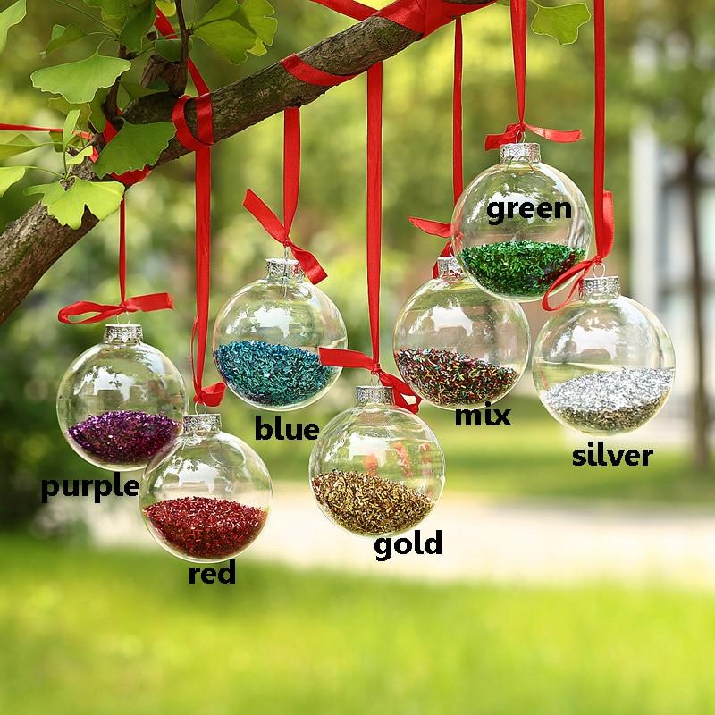 62b61d64550 Dia10cm Bolas de Cristal de La Boda Partido Bolas Bolas Ornamentales con  Purpurina Brillante En