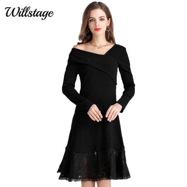 Willstage Little Black Dress Plus Size 4xl Slim Lace Patchwork Long