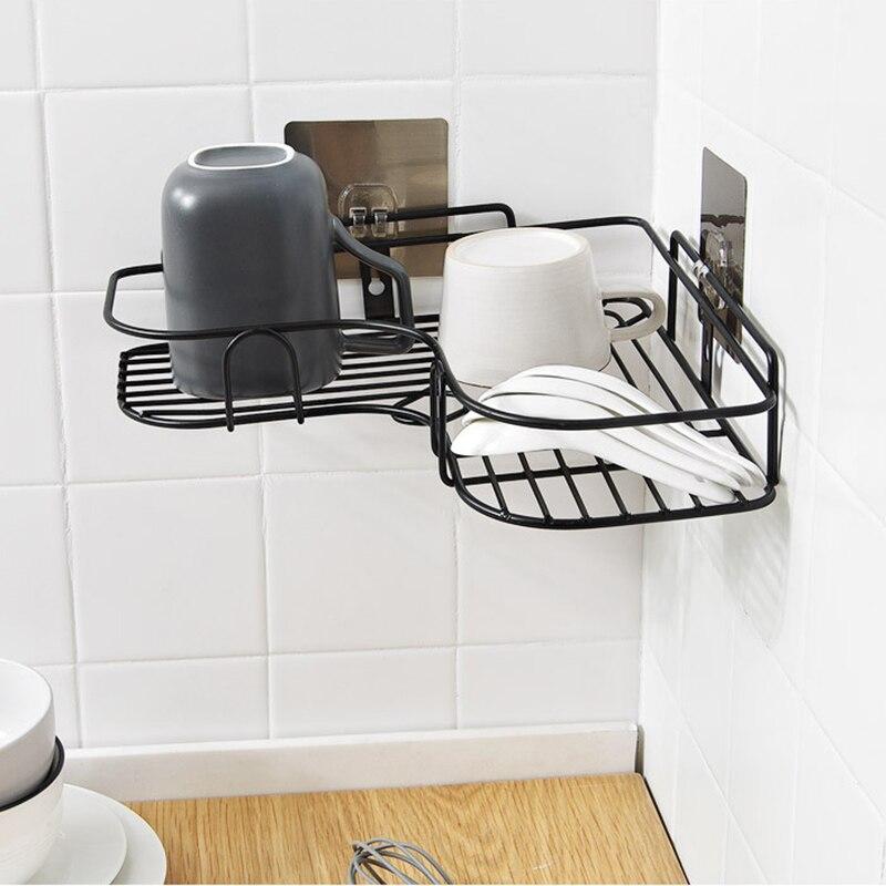 Corner Drain Shelves Bathroom Storage Rack Punch-Free Strong Wall Suction Metal