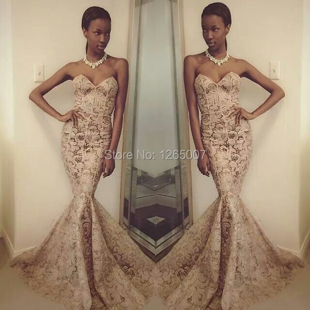 Couture Sweetheart Lace See Through Pattern Mermaid Evening Dresses ...