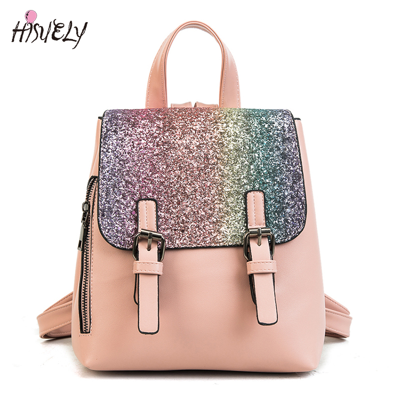 HISUELY 2018 Women PU Leather Back Pack Fashion Backpack Sequins Small Backpacks For Girls Gold Bag Female Bagpack Design