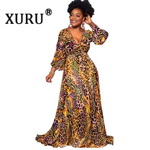 XURU summer new women's printed chiffon long dress bohemian beach dress V-neck long-sleeved large floral dress hem has a lining цена
