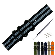 18mm 20mm 22mm 24mm For Nato Watchband Nylon Strap Black Ring Buckle Striped Replacement Band Watch Accessories цена и фото