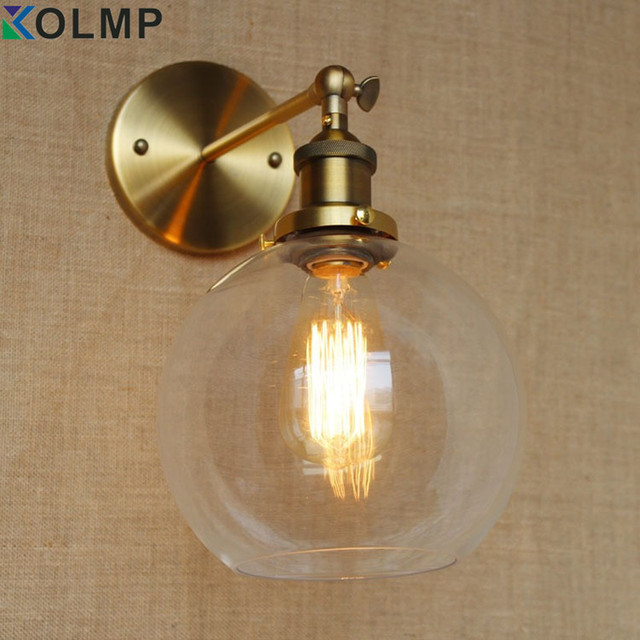 Retro Industrial Bronze Vintage Wall Lamp Light Sconce Adjule Handle Metal Rustic Fixtures