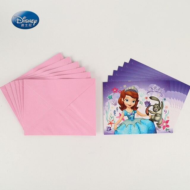 6pcslot Invitation Card Princess Sofia Cartoon Happy Birthday Party