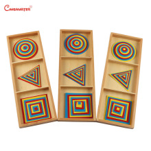 Geometry Box High Quality Wooden Montessori Materials Math Toy Children Wooden Colorful Wood Games Learning Toy Baby SE057-3