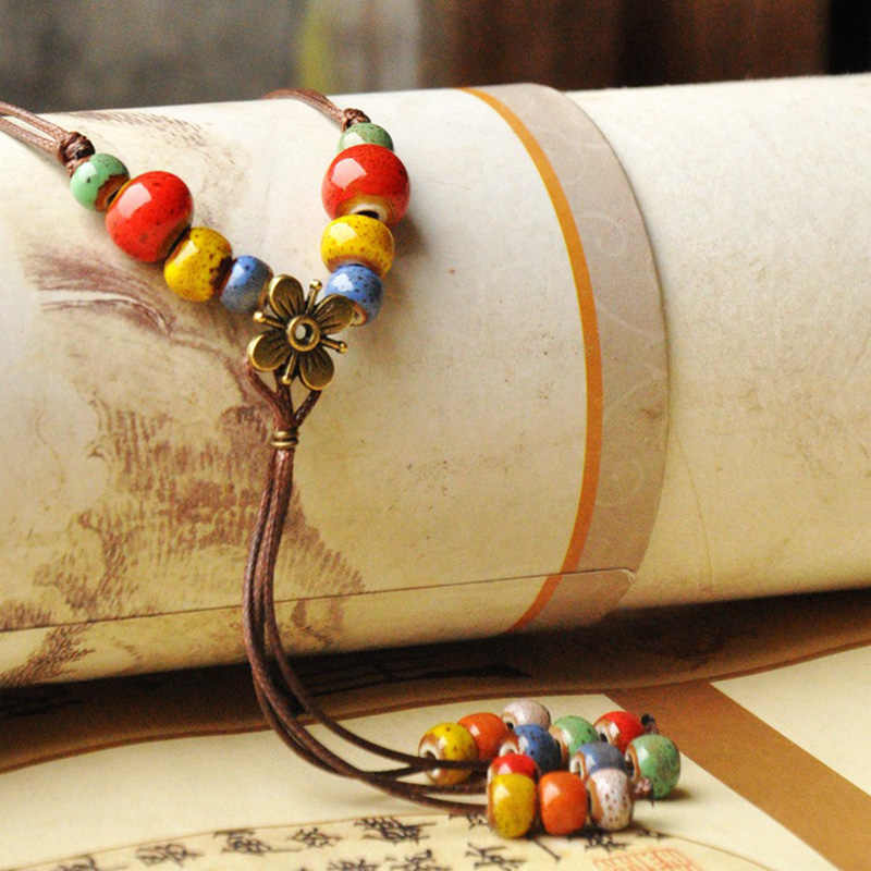 Ceramic Beads Pendants Necklace Long Chain Tassel Choker Flower Statement Charm Braided Rope Women Retro Jewelry Accessories