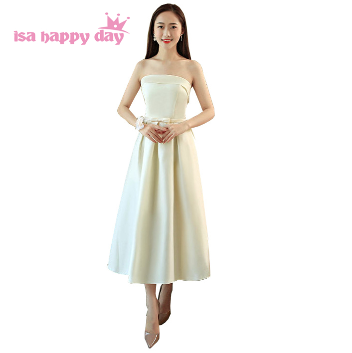 real picture special occasion champagne satin strapless evening party sexy birthday ball gown dress short tea dresses H4231