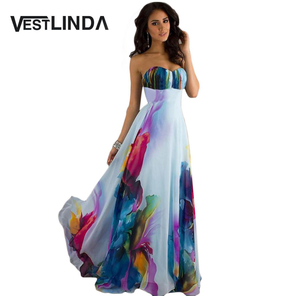 VESTLINDA Sweet Boho Dresses Strapless Backless Printed Zippered Tunic A-Line Beach Long Maxi Dress Women Summer Party Dresses 8