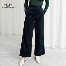 Bella Philosophy Autumn Winter Corduroy Wide Leg Pants Office Trousers Casual flat Mid solid women pants streetwear female pants(China)