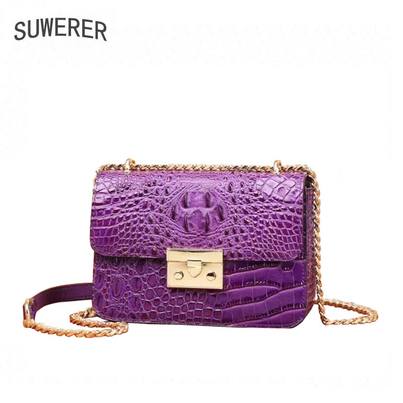 SUWERER brand womens bag 2018 new leather small square bag Luxury crocodile shoulder messenger bag Chain bagSUWERER brand womens bag 2018 new leather small square bag Luxury crocodile shoulder messenger bag Chain bag