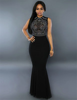 80282 Vintage Dress Women Fashion Black Dress Sleeveless O Neck Back Transparent Shimmering Rhinestone Embellished Dress