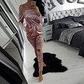 Autumn Women Popular Solid Slim Velvet Off Shoulder Strapless Tops Long Hollow Out Pants Jumpsuit S3
