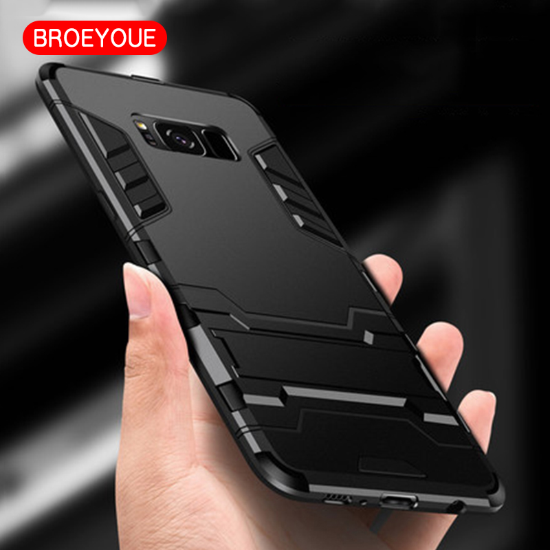 BROEYOUE For Samsung Galaxy S8 Plus Armor Case Shockproof Armor Case Hard Impact Resistant TPU&PC Plastic Hybrid Phone Cover Bag