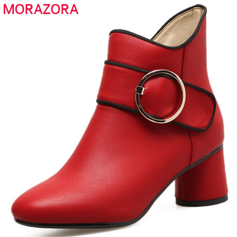MORAZORA PU soft leather high heels shoes woman ankle boots fashion elegant party womens boots square toe big size 34-43 купить