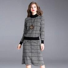 Для женщин зима карандаш платье женские офисные элегантные черные карамель плед вязаное платье Для женщин с длинным рукавом Империя Тонкий длинное платье