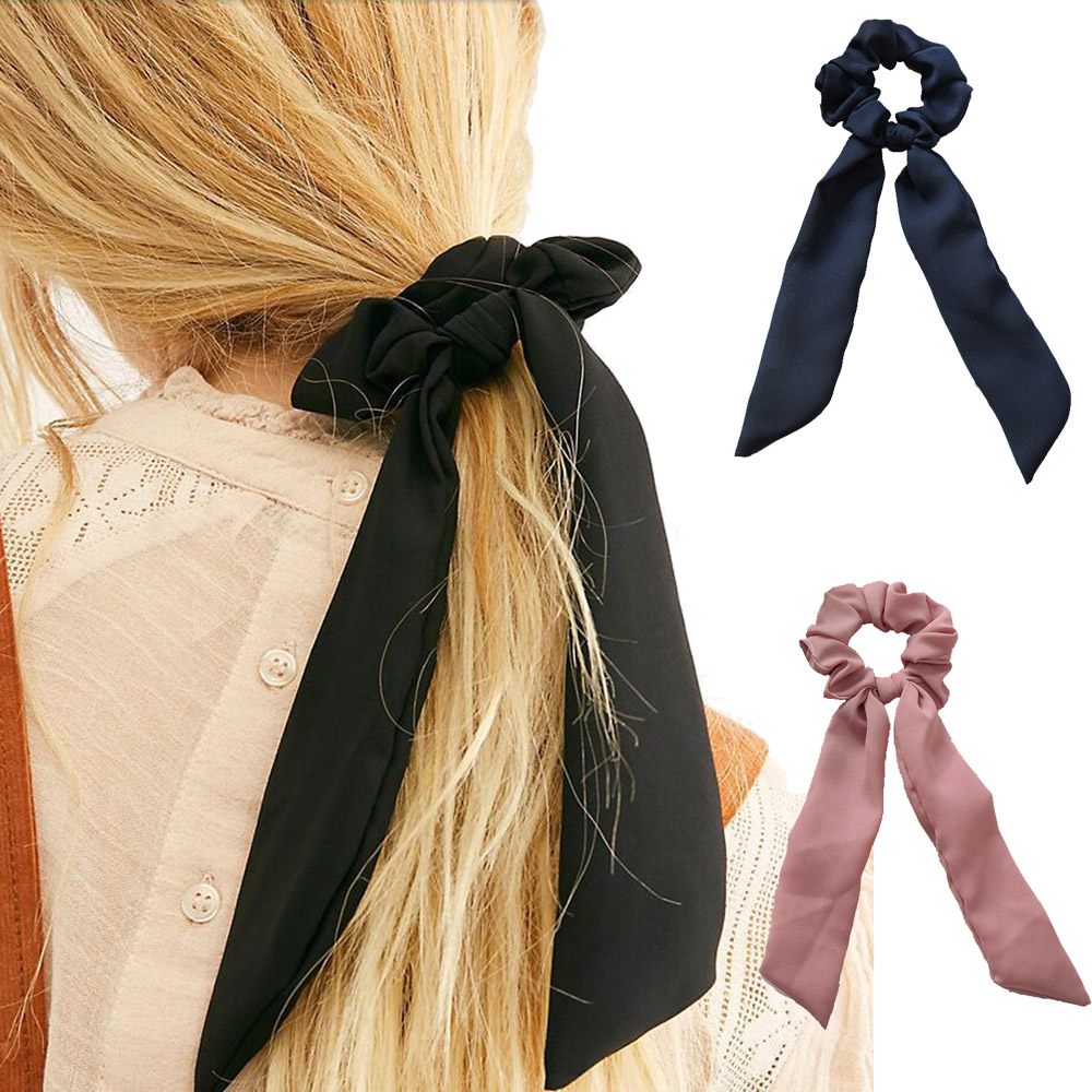 2020 Spring Elegant Streamers Bow Hair Ties For Girls Women Hair Rope Scrunchies Elastic Hair Ribbon Bands Hair Accessories
