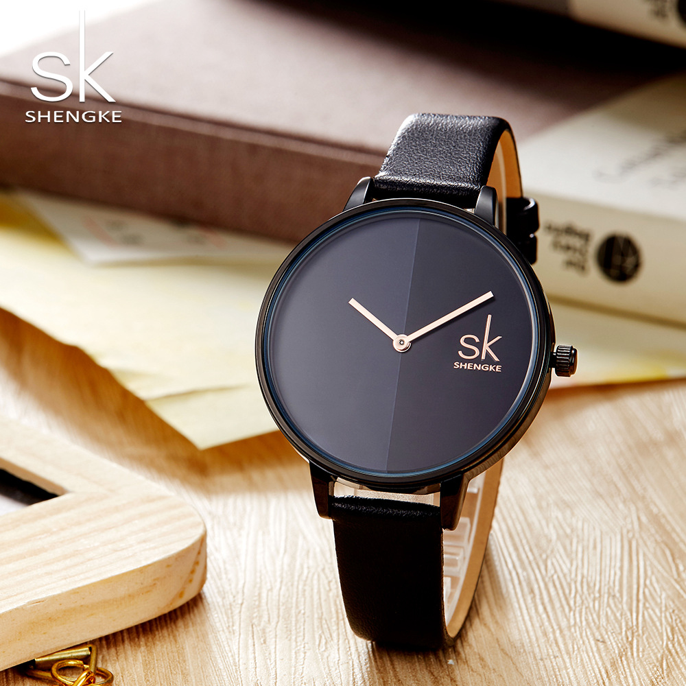 Shengke נשים שעונים למעלה מותג יוקרה 2018 שעוני יד נשי שעון עור גברת קוורץ-שעון Montre Femme Relogio Feminino