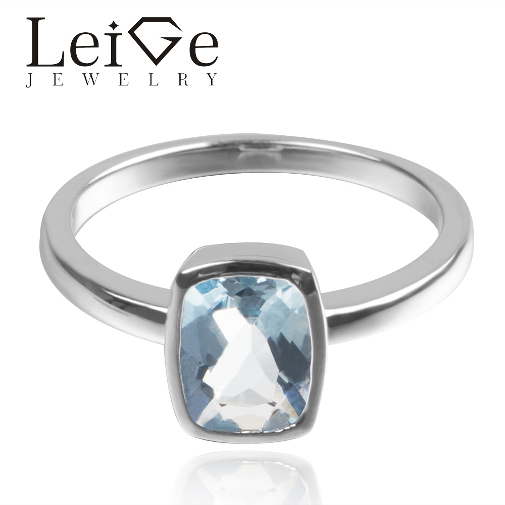 Leige Jewelry Natural Aquamarine Gemstone March Birthstone Cushion Cut Wedding Solitaire Rings For Woman 925 Sterling Silver Leige Jewelry Natural Aquamarine Gemstone March Birthstone Cushion Cut Wedding Solitaire Rings For Woman 925 Sterling Silver