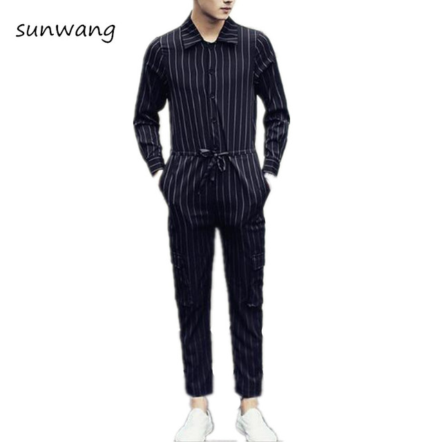 67223bf54a5 2019 Brand New Designer Korean Fashion Overalls Men Casual Pants Trousers  Mens Jumpsuit Black And White Striped Dress Pants