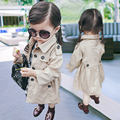 Brand New! Long Style Spring Trench for Little Girls England Style Trench Single Breasted Ourwear Baby Girls Khaki Long Coats