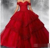 Новое красное бальное платье Пышное кружевное платье для выпускного вечера 2019 аппликация «сердце» вечерние Сладкие 16 принцесса vestidos de 15 anos
