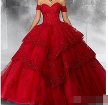 New Red Ball Gown Quinceanera Dresses lace Prom Dress 2019 Sweetheart Appliques Party Sweet 16 Princess vestidos de 15 anos