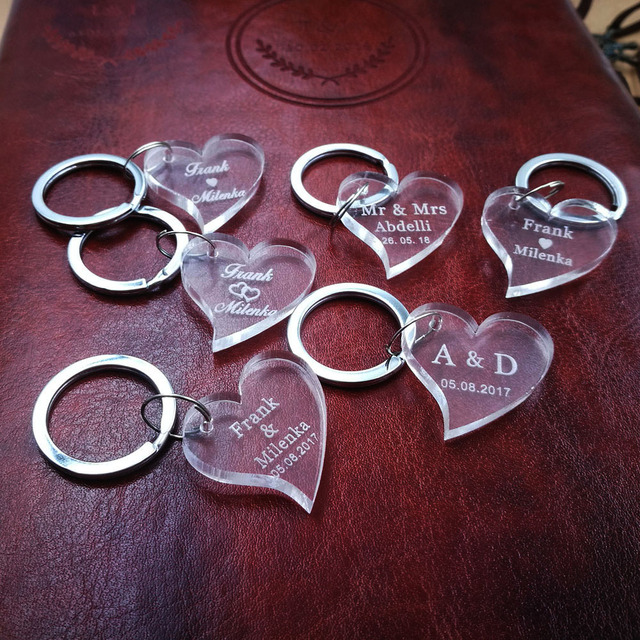 (10pcs/lot)Customized Acrylic Design Clear Personalized Laser Engraved Keychain Love Heart Wedding tags Mr Mrs Favors and Gifts