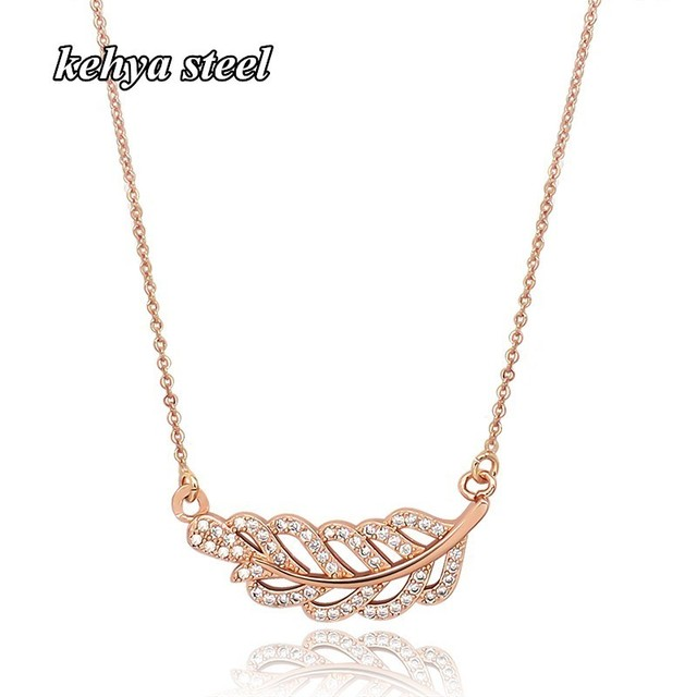 Crystal Choker Necklaces for Women/Girls/Ladies Silver/Rose Gold Feather Pendant Thin Chain Clavicle Trendy Jewelry Accessories